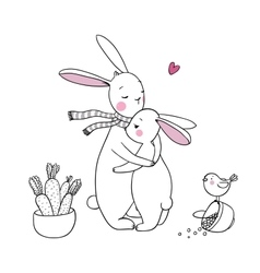 cute rabbits a basket of carrots and a bird vector image vector image