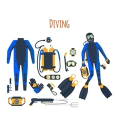 Diving equipment isolated set vector