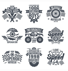 Emblems retro vintage race and super cars vector