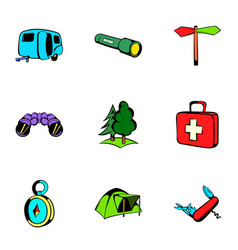 Expedition icons set cartoon style vector