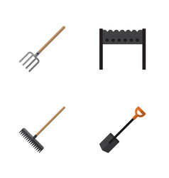 Flat icon dacha set of hay fork spade barbecue vector