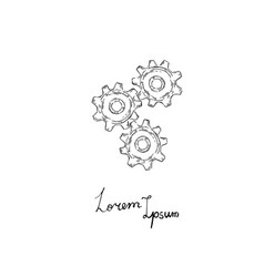 gears icon doodle style vector image vector image