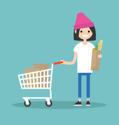 Grocery shopping concept young customer standing vector