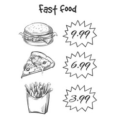 Hand drawn fast food menu isolated on white vector