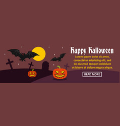 happy halloween banner horizontal concept vector image