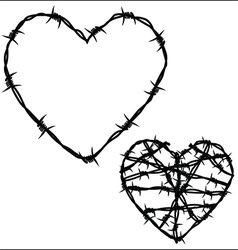 Heart of barbed wire vector image vector image