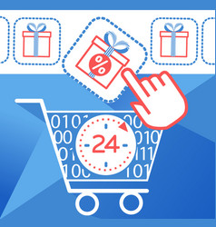 Icon on cyber monday cart vector