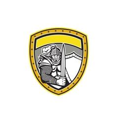 Knight full armor open visor sword shield crest vector