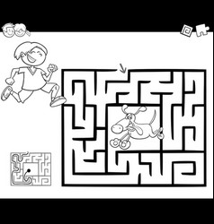Maze activity game with boy and dog vector
