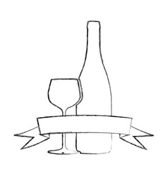 Monochrome blurred contour of glass cup and bottle vector