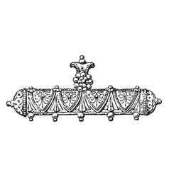 Pendant oblong ornament vintage engraving vector