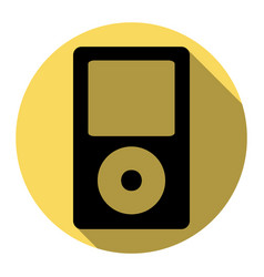 Portable music device flat black icon vector
