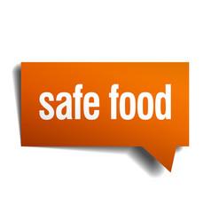 Safe food orange speech bubble isolated on white vector