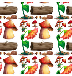 Seamless background with mushroom and logs vector