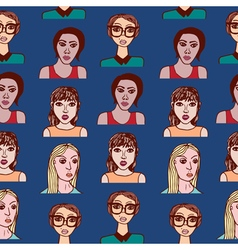 Seamless pattern with cartoon girls vector image vector image