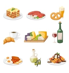Set of fresh morning food european breakfast vector