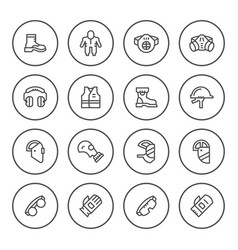 set round line icons of protecting equipment vector image