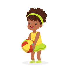 Sweet black little girl in an yellow dress playing vector
