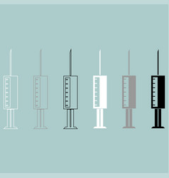 syringe white grey black icon vector image vector image