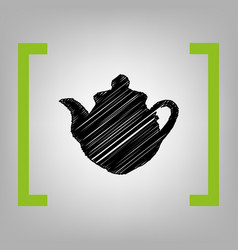 tea maker kitchen sign black scribble vector image vector image