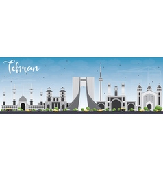 Tehran skyline with gray landmarks vector