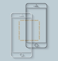 Template of mobile phones with long shadow for vector image vector image