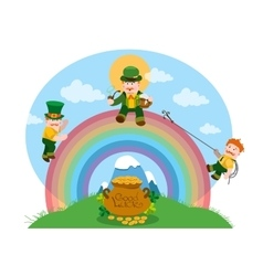 Three men dressed in green on a rainbow vector