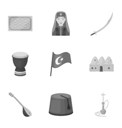 Turkey set icons in monochrome style big vector