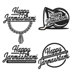 Vintage janmashtami emblems vector