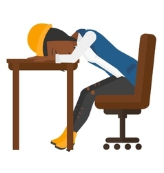 Woman sleeping on table vector