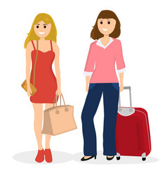 Women tourists with bags and suitcase vector