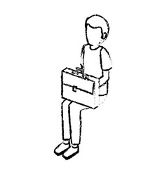 Young man avatar character sitting isometric vector