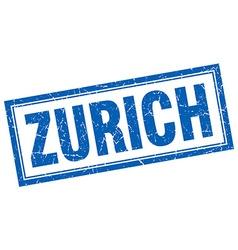 Zurich blue square grunge stamp on white vector