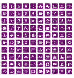 100 team building icons set grunge purple vector image vector image