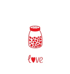 Salt shaker with hearts crystals inside glass vector