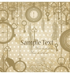 Retro grungy invitation card with antique clocks vector