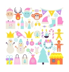 Merry christmas cute objects vector