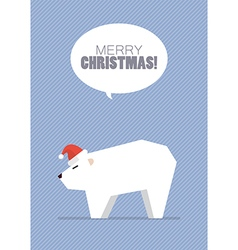 Merry christmas with white bear vector