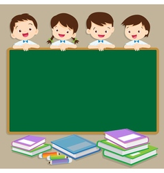 Cute student post smile on a chalkboard vector