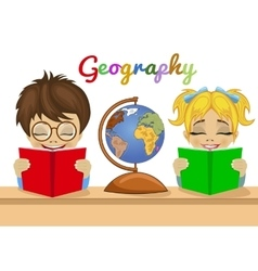 Kids studying geography together reading books vector