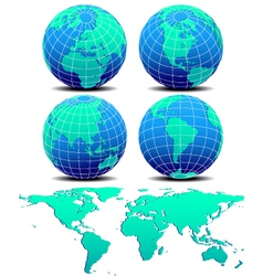 Four global worlds and world map - set two vector
