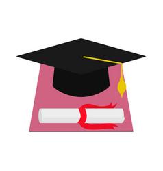 Square academic cap and diploma graduation vector