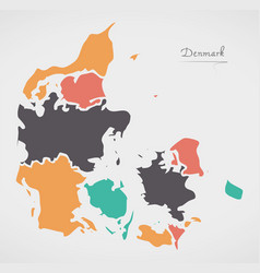 Denmark map with states and modern round shapes vector