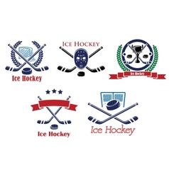 Ice hockey heraldic emblems and symbols vector