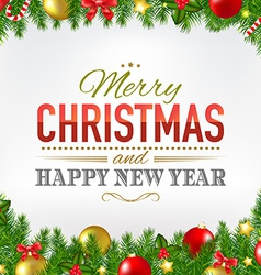 Christmas Card With Fir Tree Borders vector image