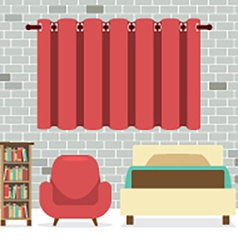 Flat design single bed with sofa and bookcase vector