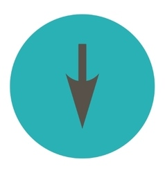 Sharp down arrow flat grey and cyan colors round vector