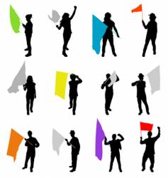 People with flags vector