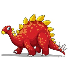 Red dinosaur with spikes tail vector