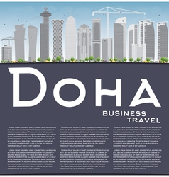 Doha skyline with grey skyscrapers vector